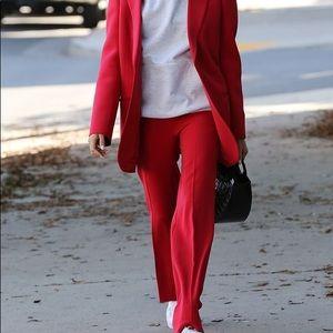 Kimberly C Red racing stripe pants high waisted